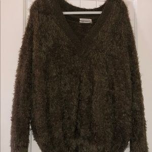 Green furry urban outfitters sweater